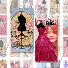 All Chic Dress Forms  Digital Collage Sheet  1x2 by calicocollage, $3.75