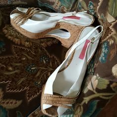 Betsey Johnson wedge sandals 9.5..vintage They are hardly worn. 5 inch heel at its highest. No low ball offers. But I will accept a reasonable offer. I paid $175 for these on Zappos. Vork a d leather. Betsey Johnson Shoes Sandals