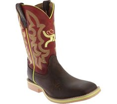 Twisted X Boots Unisex Children's YHY0005 Cowkid's Hooey Cowboy Boot Crazy Horse/Red Leather Size 12 M