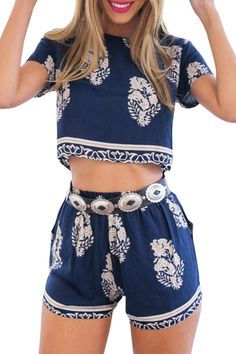 Navy Floral Print Crop Top with Hot Pants