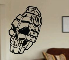 Hey, I found this really awesome Etsy listing at https://www.etsy.com/listing/185114817/grenade-skull-decal-sticker-wall-vinyl