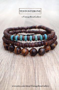 Mens Bracelet, Set of 3 Mens Bracelet, #VintageRoseGallery, #etsy  Gemstones Stackable BraceletsTestosterone Bracelets by VintageRoseGallery