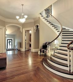 Foyer with curved staircase. Foyer in traditional suburban home with curved staircase. Curved Staircase, Staircase Design, Staircase Ideas, Foyer Staircase, Stair Railing, Interior Staircase, Spiral Staircases, Winding Staircase, Stair Design