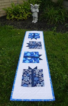 SALE! Quilted Christmas Table Runner - Blue Gift Boxes - Navy and White - Blue Snowflakes