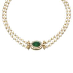 CULTURED PEARL, EMERALD AND DIAMOND NECKLACE Designed as two rows of cultured pearls, the central motif and clasp set with cabochon emeralds within frames of brilliant-cut diamonds, accented to the sides with similarly cut and baguette diamonds, length approximately 395mm, French assay marks.