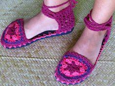 Sapato de crochê - mandala