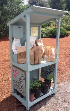 Roadside flower stand ~ love the honor jar! More