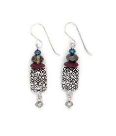 "A lovely column of beautifully complimentary components and colors. A classic. Silver fill ear wires. 1.75"" long"