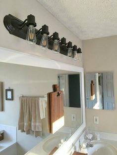 Painted Bathroom Vanity Light Fixture With Edison Bulbs