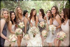 Mismatched brides maids dresses are cute!