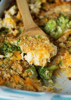 Easy Broccoli, Rice, and Chicken Casserole with Ritz cracker crust that comes together in 1 casserole dish. Perfect for busy weeknights!