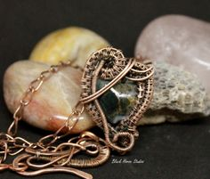 Green and Gold Glass Heart Copper Wrapped Necklace