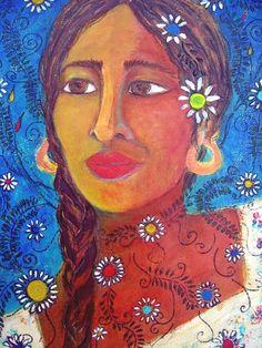 Mexican Art reproduction print Flor Mestiza by conmismanos on Etsy, $10.95