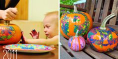 For young children. tape off a design and then let them finger paint the pumpkin.  Peel off tape to reveal design - too cute!!