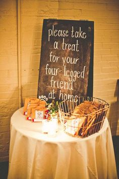 Lunchtime Wedding Treat - How cute is this idea of having treats for your guests to take home for their dogsVia Country House Wedding Venues