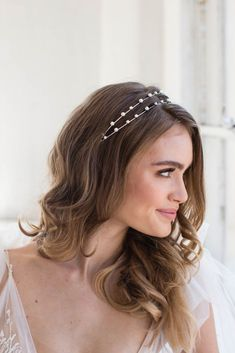 Two light and airy strands of faux pearls create the perfect headband to pair with boho wedding dresses. By Brides & Hairpins Includes keepsake box Sterling silver, plastic, glass USA Bridal Hair Down, Wedding Hair Down, Wedding Hair And Makeup, Hair Makeup, Boho Wedding, Straight Wedding Hair, Bride Hairstyles, Down Hairstyles, Straight Hairstyles