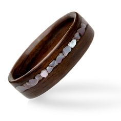 English Oak with Mother of Pearl Inlay Wooden Engagment Rings