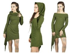 Sharped kaki green pixie dress with point on side and hood. Festival trance, tunique, gothic, fantasy, witches, asymmetrical