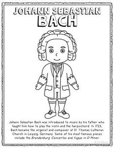 Johann Sebastian Bach, Famous Composer Informational Text Coloring Page Craft Music Lessons, Math Lessons, Spanish Lessons, Music Education, Kids Education, Johann Bach, French Language Learning, English Language, Japanese Language