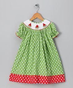 Green Watermelon Polka Dot Bishop Dress - Infant, Toddler & Girls