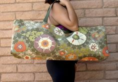 Orange and Green Paisley Tapestry Yoga Tote Handmade by ChellaBellaDesigns