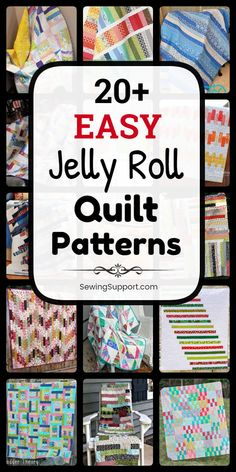 Easy Jelly Roll Quilt Patterns Free Quilt Patterns for Jelly Roll Quilts. easy jelly roll quilt patterns, tutorials, and diy sewing projects easy enough for a beginner to sew. Designs include easy strip, square, and race quilts. Diy Sewing Projects, Sewing Projects For Beginners, Quilting Projects, Sewing Hacks, Sewing Tutorials, Quilting Ideas, Sewing Tips, Jelly Roll Quilt Patterns, Easy Quilt Patterns