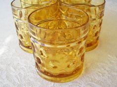 Vintage Amber Tumbler Drinking Glasses by DixiesNightOwl on Etsy, $15.00