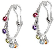 Judith Ripka Sterling 1.00 cttw Gemstone Hoop Earrings - J334467