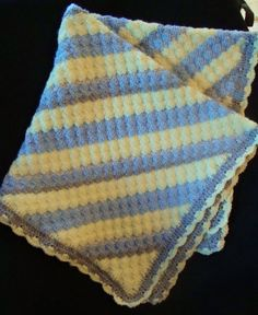 Yellow, Blue, Gray, Gray Twist Crochet Baby Afghan