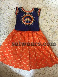 Orange Navy Blue Maggam Work Lehenga