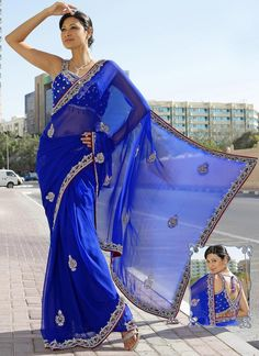 Royal Blue Pure Georgette Embroidered Saree