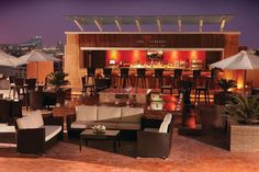 The Terrace @ Media Rotana, Dubai  - Lounge Bar -    Chill out at this magnificent trendy outdoor lounge bar. A dynamic and funky terrace with chill out mood, a laid back atmosphere with bean bags, shisha, great music and the best of cocktails. The Terrace is the most happening lounge bar in town!