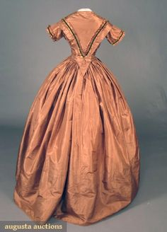TOBACCO BROWN SILK DAY DRESS, 1860s