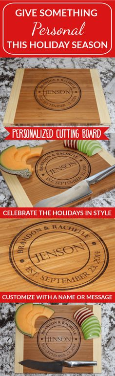 Our Personalized Large Bamboo Cutting Boards are a fantastic price today. It's the perfect opportunity to order one for everyone you know. You'll love the beautiful Jenson style which adds a touch of elegance to your home, or makes a thoughtful gift for someone you love. Customize with the last name and optional wedding or anniversary date. This will look beautiful in your home whether on display or while in use. They also make beautiful gifts for family and friends!