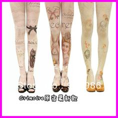 Aliexpress.com : Buy Free Shipping 2013 New Arrival Fashion Harajuku Tights 80 Denier Velvet Tattoo Print Pantyhose Stockings For Girl from Reliable stockings pantyhose suppliers on FASHION UNLIMITED $7.99