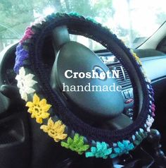 Navy multicolor cover Car Accessories Gifts Crochet Wheel Cover Car Decor Cover for car Steering wheel cover Steering wheel cover GiftH19060