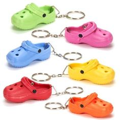 Crocs Keychains - Oriental Trading Co. Cool Keychains, Cute Keychain, Cute Car Accessories, Miniature Crafts, Mini Things, Cute Cars, Oriental Trading, Miniture Things, Clay Charms