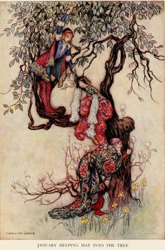 Warwick Goble. January helping May into the Tree - The Complete Poetical Works of Geoffrey Chaucer (1912)