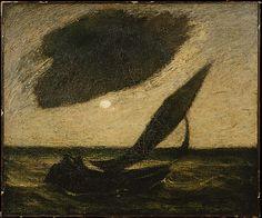 """""""Under a Cloud,"""" Albert Pinkham Ryder, ca. 1900, oil on canvas, 20 x 24"""", Metropolitan Museum of Art."""