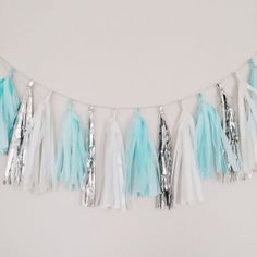 Tiffanys Inspired Mint Blue and Silver Tassel by BlushBazaar, $27.00 Would look nice blowing in the breeze for an outdoor party