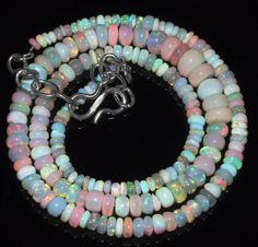 """44 Tcw 3 to 6.5 mm 16"""" Natural Ethiopian Welo Fire Opal Necklace ---155"""