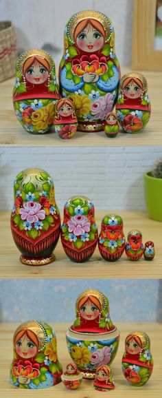 Russian matryoshka in red, green and light gold decor, hand painted by artist Nadezhda Tihonovich. Find more lovely nesting dolls at: www.bestrussiandolls.etsy.com