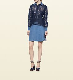 Gucci - contrast denim dress with broderie anglaise detail 381143XD3194019