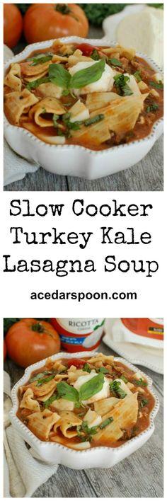 Slow Cooker Turkey Kale Lasagna Soup: a twist on your favorite Italian meal // A Cedar Spoon #ad