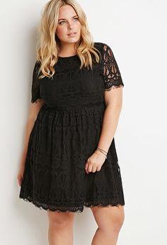 Plus Size Eyelash Lace Fit & Flare Dress
