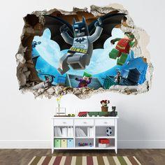 for finn's bedroom LEGO BATMAN SMASHED WALL STICKER - BEDROOM BOYS GIRLS VINYL WALL ART