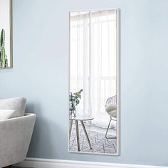 Full Length Mirror In Bedroom, Modern Full Length Mirrors, Full Length Mirror Silver Frame, Oversized Wall Mirrors, White Wall Mirrors, Over The Door Mirror, Mirror Door, Floor Mirror, Glass Wall Shelves