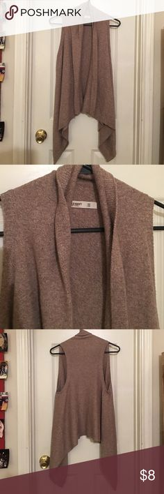 Sleeveless Tan Cardigan Great Condition, see pictures tag for material details. Very flattering on, and always complimented on! Size is XS but could easily be work as a S or M. Sweaters Cardigans