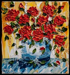 "FOR SALE: ""Roses Are Red"" - an impasto painting by Barbara Scharpf of Creative Womanhood. #bouquet #rose #impasto #acrylic #original #painting #texture"