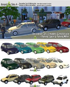 Decorative cars, motorcycle and parking meter at Around the Sims 4